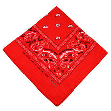 "100% Cotton Paisley Bandanas Double Sided ""Red"" Handkerchief Headscarf"