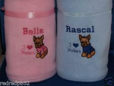PERSONALISED YORKSHIRE TERRIER YORKIE PUPPY DOG BLANKET EMBROIDERED NAME GIFT