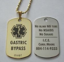 Gold or Silver Tone Metal Gastric Bypass Lap Band Id Alert Tag - Free Engraving