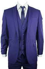 Mens Slim Fit Blue Purple 3 Piece Work Occasional or Wedding Party Prom Suit