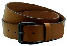 """Mens TAN LEATHER Casual Belt 1-1/2"""" wide w/Snaps Removable ROLLER Buckle BLSI-10"""