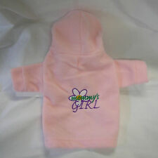 Pink Embroidered Mommy's Girl with Flower Fleece Dog Hoodie Sweater Tiny S M