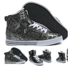Fashion Men's Patent Leather high-top lace-up hiking Sports shoes hip-hop shoes