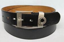 Brand New Men's Casual Black Dress Leather Belt w/ Designer Silver Buckle BW2001