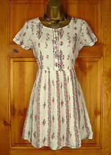 NEW RIVER ISLAND IVORY CREAM RED PINK FLORAL SUMMER SUN SKATER DRESS UK 6 - 16