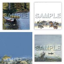 1 New 12X12 Papers Best FISHING SCRAPBOOK SHEET Outdoor Boat Lake Hunt Wildlife