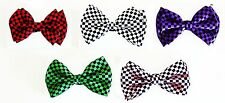 CHECKERED BOW TIE - BLACK W/ RED, WHITE, PURPLE, GREEN, PINK
