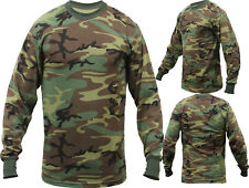 Mens Woodland Camouflage Long Sleeve Tactical Military T-Shirt
