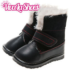 Girls / Boys Toddler - Suede Leather Squeaky Boots - Black with Fleecy Inner