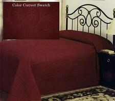 COUNTRY FRENCH DEEP RED OVERSIZED BEDSPREAD COVERLET MATELASSE BEDDING