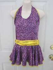 Semi Custom Purple Gold Yellow Competition Dance Costume Dress XL Child SA MA