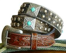 Nocona Western Mens Belt Leather Hair Square Concho Brown Turquoise N2495808