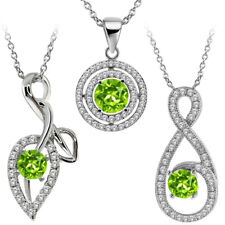 """Round Natural Green Peridot 925 Sterling Silver Pendant with 18"""" Silver Chain"""