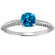 1.13 Ct Round London Blue Topaz 14K White Gold Ring