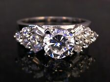 Engagement Style Clear CZ Ring in Solid Sterling Silver - 7.1 Grams  Sizes 7 8 9