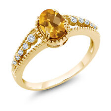 0.91 Ct Oval Checkerboard Yellow Citrine White Topaz 14K Yellow Gold Ring