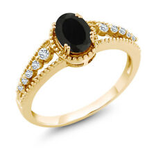 0.84 Ct Oval Black Onyx White Topaz 18K Yellow Gold Ring