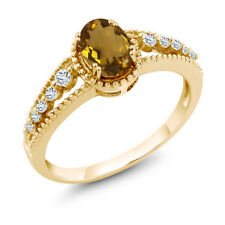 0.91 Ct Oval Whiskey Quartz White Topaz 18K Yellow Gold Ring