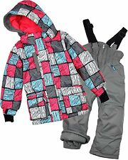 Deux par Deux Girls' 2-piece Snowsuit Blocks, Size 12