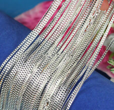 Wholesale 10pcs Solid Bright Silver 1mm Box Snake Chain Lobster Clasp Necklace