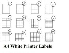 PRINTER LABELS - A4 Sticky Self Adhesive Inkjet Laser Copier Address Label Plain