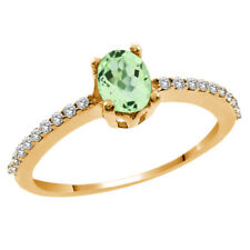 1.30 Ct Oval Green Amethyst White Topaz 14K Yellow Gold Ring