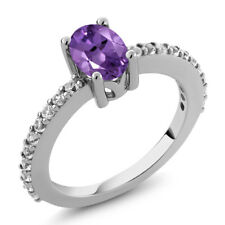 1.05 Ct 7x5mm Oval Natural Purple Amethyst and Topaz 925 Sterling Silver Ring
