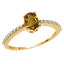 1.00 Ct Oval Whiskey Quartz White Topaz 14K Yellow Gold Ring