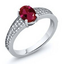 1.90 Ct Oval Red Created Ruby 925 Sterling Silver Ring