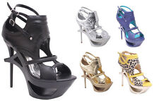 NEW Women's Strappy Gladiator Cut Out Platform Heels with Buckled Ankle Straps