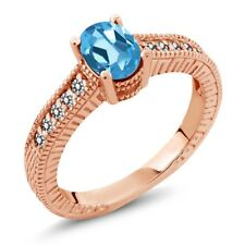 1.13 Ct Oval Swiss Blue Topaz White Diamond 18K Rose Gold Plated Silver Ring