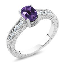 1.15 Ct Oval Purple Amethyst White Topaz 925 Sterling Silver Engagement Ring
