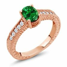 1.64 Ct Oval Simulated Emerald White Topaz 18K Rose Gold Plated Silver Ring