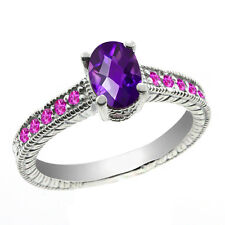 1.25 Ct Oval Checkerboard Purple Amethyst Pink Sapphire 14K White Gold Ring