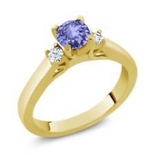0.62 Ct Round Blue Tanzanite White Topaz 925 Yellow Gold Plated Silver Ring