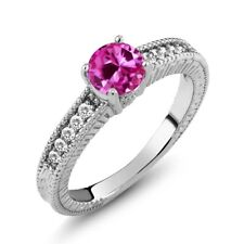 1.10 Ct Pink Created Sapphire White Sapphire 14K White Gold Engagement Ring