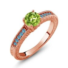 1.10 Ct Round Green Peridot Swiss Blue Topaz 925 Rose Gold Plated Silver Ring