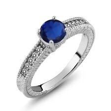 1.17 Ct Round Blue Simulated Sapphire White Diamond 925 Sterling Silver Ring