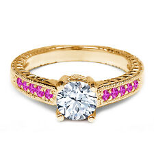 1.18 Ct Round White Topaz Pink Sapphire 925 Yellow Gold Plated Silver Ring