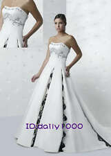 2013 Style Embroidery Bridal Bridesmaid Wedding Gown Prom Ball Evening Dress