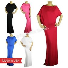 Dolman Sleeve Solid Color Comfy Rayon Elegant Full Length Long Maxi Dress USA