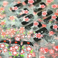 1 x 3D Nail Art Stickers Red & Black Flowers Decals BI