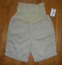 NWT Duo Maternity KHAKI Beige Shorts Size Small 4-6 over belly long womens