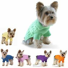 Dog Pet Sweater Coat Clothes, Multi-color Aran Knit, Soft Cozy, Small to Large