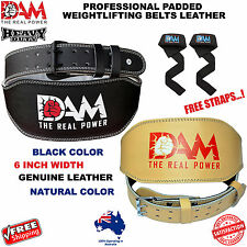 DAM WEIGHT LIFTING BELT WEIGHTLIFTING BODYBUILDING GYM BACK SUPPORT LEATHER BELT