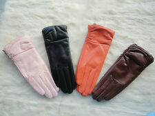 Winter New Women's Real Genuine Lambskin 100% Leather Gloves *Choose your color*