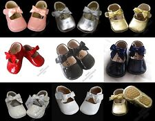 NEW Girls Patent Leather Shoes 0-20M White-Red-Pink-Gold-Silver-Black-Creme-Navy