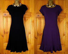 NEW WALLIS BLACK PURPLE JERSEY TEA PARTY DRESS VINTAGE 40s 50s STYLE UK 8 TO 18