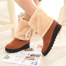 Women ladies thick sole inner elevator shoes casual bowtie ankle snow boots BL1