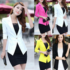 Women Blazer One Button 3/4 Sleeve Lapel Collar Slim Casual Lady Suit Jacket